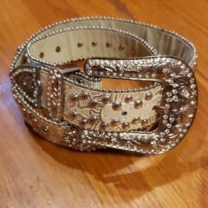 Silver & Pearlescent Authentic Western Belt Sz M